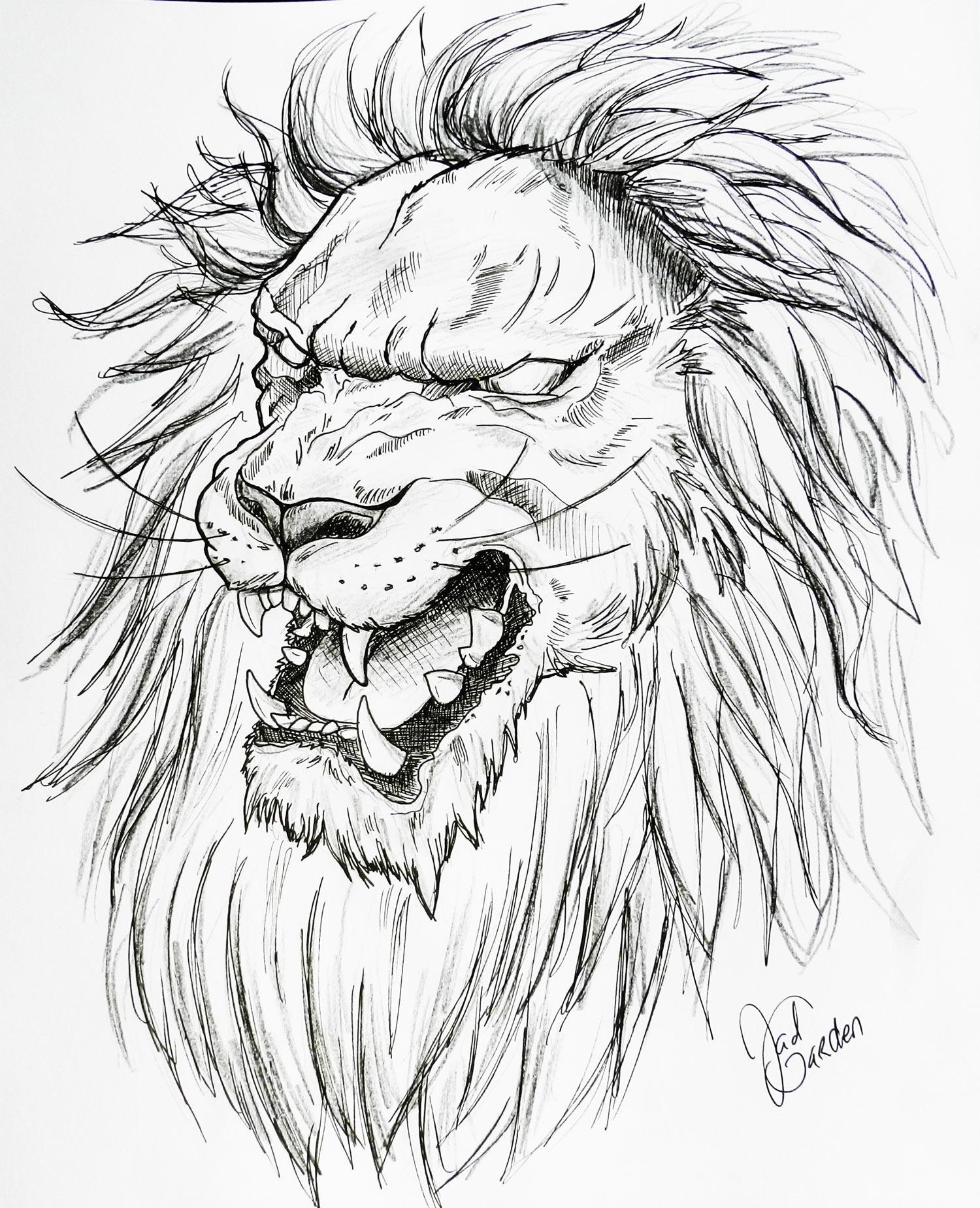 dessin de tatouage lion charente angoulême JadGarden